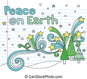Christmas Trees Peace Doodles - Peace on Earth Christmas...