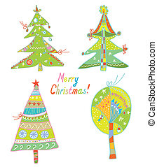 Christmas trees set funny design and banner