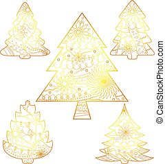 Christmas trees set golden isolated