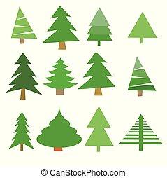 Christmas trees set vector illustration