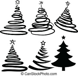 christmas-trees., six, [vector]