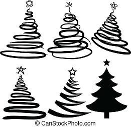 christmas-trees., sześć, [vector]