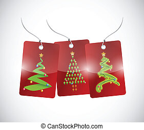christmas trees tags illustration design
