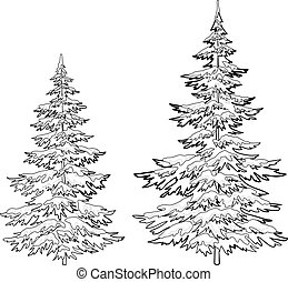 Christmas trees under snow, contours - Vector, christmas...