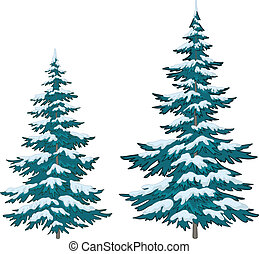 Christmas trees under snow - Vector, christmas trees under...