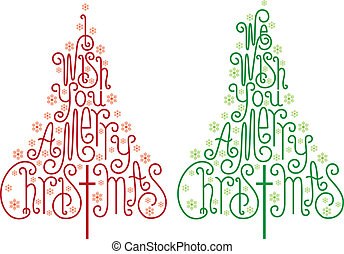 Christmas trees with hand drawn letters and snowflake, vector