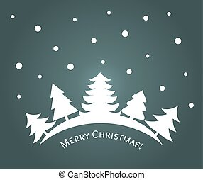 Christmas trees winter forest night landscape