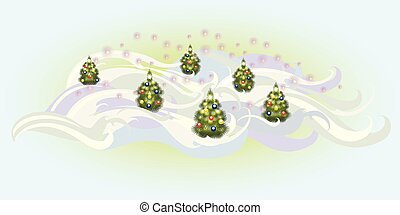 Christmas trees with balls. EPS10 vector illustration
