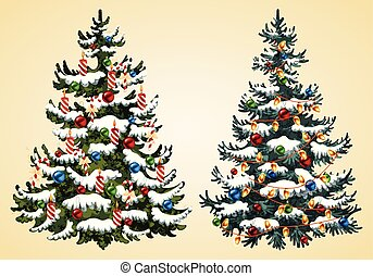 Christmas trees with balls, garland and candles vector Illustration