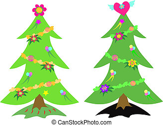 Christmas Trees with Decorations