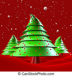 Christmas trees with snow falling greeting