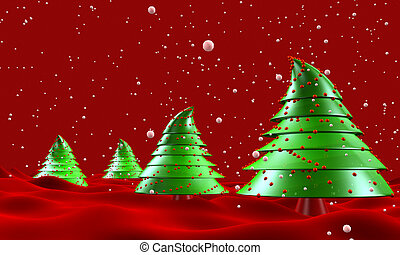 Christmas trees with snow falling greeting 3d illustration