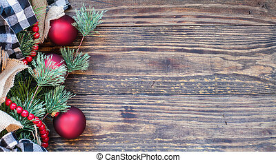 Christmas Trimmings against Rustic Background