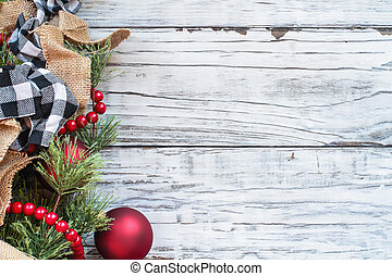 Christmas Trimmings against White Rustic Background