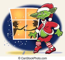 Christmas troll sneaks past the window