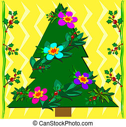 Christmas Tropical Tree with Holly