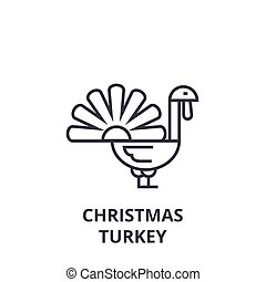 christmas turkey line icon, outline sign, linear symbol, vector, flat illustration