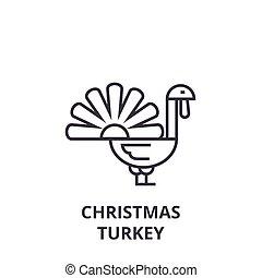 christmas turkey line icon, outline sign, linear symbol, vector, flat illustration