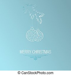 christmas turquoise, blue background with silhouette of spruce branches and balls