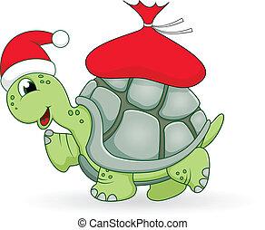 Christmas turtle cartoon - vector illustration of Christmas...