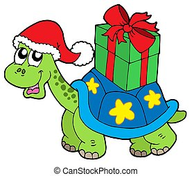 Christmas turtle with gift - isolated illustration.