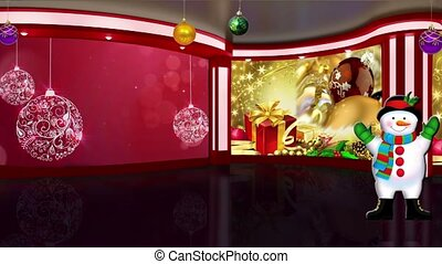 Christmas TV Studio Set 17 - Virtual Green Screen Background...