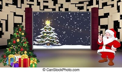 Christmas TV Studio Set 18 - Virtual Green Screen Background...