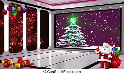 Christmas TV Studio Set 19 - Virtual Green Screen Background...