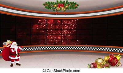 Christmas TV Studio Set 20 - Virtual Green Screen Background...
