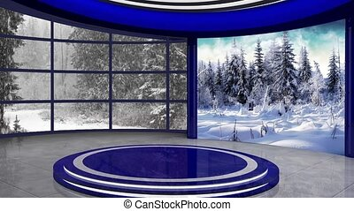 Christmas TV Studio Set 23 - Virtual Green Screen Background...