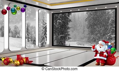Christmas TV Studio Set 25 - Virtual Green Screen Background...