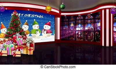 Christmas TV Studio Set 26 - Virtual Green Screen Background...