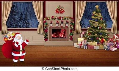 Christmas TV Studio Set 28 - Virtual Green Screen Background Loop