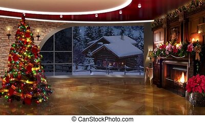 Christmas TV Studio Set 29 - Virtual Green Screen Background...