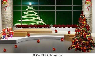 Green background with white Christmas Tree in window motion background for TV program with holiday theme. Seamless loopable HD video.