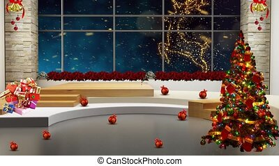 Dark Blue colour in window with Golden christmas-reindeer slow motion background for TV program with holiday theme. Seamless loopable HD video.