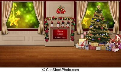 Christmas Stars in window motion background for TV program with holiday theme. Seamless loopable HD video.
