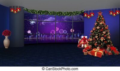 Fireworks celebration in window motion background for TV program with holiday theme. Seamless loopable HD video.