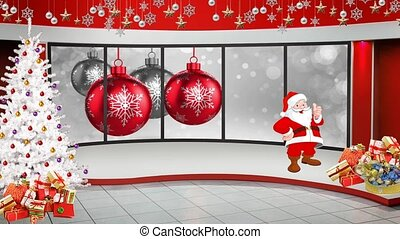 White and Red Christmas Balls with white Christmas Tree motion background for TV program with holiday theme. Seamless loopable HD video.