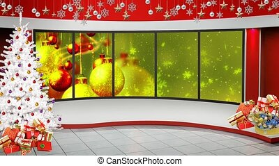 Christmas background with shinning particles and glitter sparkes in window motion background for TV program with holiday theme. Seamless loopable HD video.