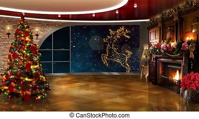 Dark Blue colour in window with Golden reindeer slow motion background for TV program with holiday theme. Seamless loopable HD video.