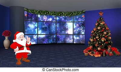 Dark Blue Stars Christmas Background in window motion background for TV program with holiday theme. Seamless loopable HD video.