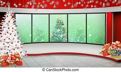 Colourful background in window with Christmas motion background for TV program with holiday theme. Seamless loopable HD video.