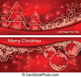Christmas two background with trees and balls & text
