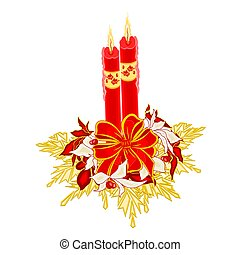 Christmas two candles with ribbon