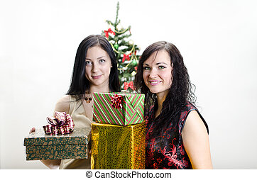 Christmas: Two girls with gifts