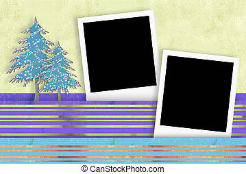 Christmas two photo frames card
