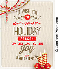 Christmas type design, holidays decoration and candles on a...
