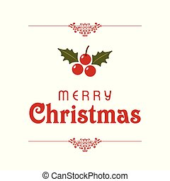 Christmas typographic with red cherries