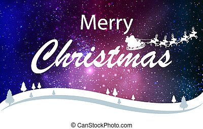 christmas typography on starry winter landscape background